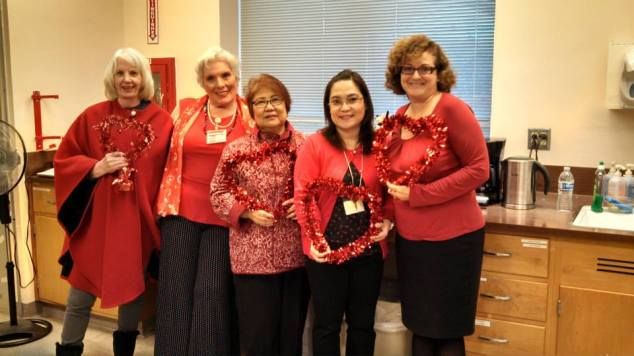 Here's the Fairmont Cardiac Team sporting their sparkly red hearts!